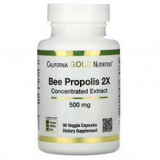 California Gold Nutrition, Bee Propolis 2X, Concentrated Extract, 500 mg, 90 Veggie Caps