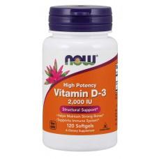 Now Foods, Vitamin D-3 High Potency , 2,000 IU, 120 Softgels