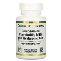 California Gold Nutrition, Glucosamine Chondroitin, MSM plus Hyaluronic Acid, 60 Veggie Capsules