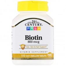 21st Century, Biotin, 800 mcg, 110 Easy Swallow Tablets