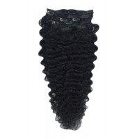 100% Human Hair Extension, Fully Head clip in Wavy, 26 inches, Color Black (#1)