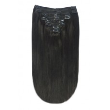 100% Clip in  Human Hair Extension, Fully Head Silky Supreme clip in, 18 inch, Color Black (#1B)