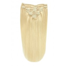 100% Clip in Human Hair  Extension, Full Head,  20 inches, Color Bleach Blonde (#613)