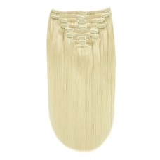 100% Human Hair Extensions,  Full Head Silky Supreme Clip In, 20 inch, Color Lightest Blonde (#60)