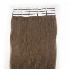 100% Premium Quality Human Hair Extension, Tape Skin Remy Hair, 16 inch, color Ash Brown (#8)