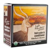 Light Mountain, Organic Natural Hair Color & Conditioner, Medium Brown, (113 g)