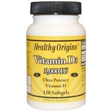Healthy Origins, Vitamin D3, 5,000 IU, 90 Softgels